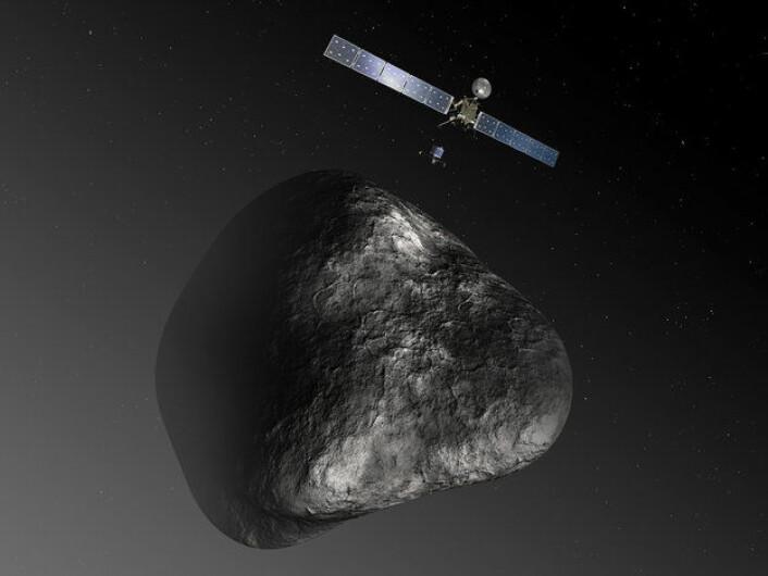 Illustrasjon av Rosetta og landingssonden Philae ved kometen 67P/Tsjurjumov-Gerasimenko. (Foto: ESA/C. Carreau/ATG medialab)