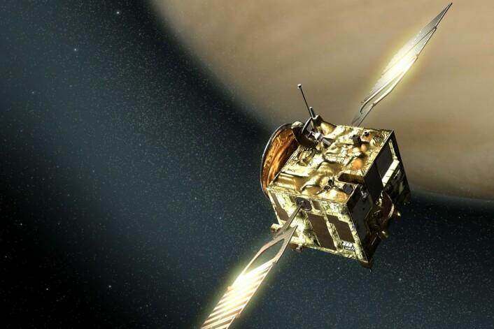 ESAs romsonde Venus Express har undersøkt Venus siden 2009. Men sommeren 2014 er oppdraget snart over og det siste brennstoffet blir brukt til et skikkelig dypdykk ned i den tykke atmosfæren. (Foto: ESA)