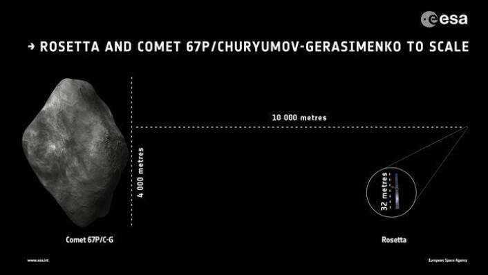 Størrelsen på kometen 67P sammenliknet med Rosetta, som er det lille punktet lengst til høyre, forstørret i sirkelen. (Foto: ESA)