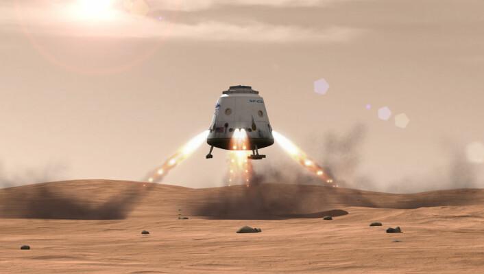 Dragon-kapselen til SpaceX lander på Mars. (Foto: (Illustrasjon: SpaceX))