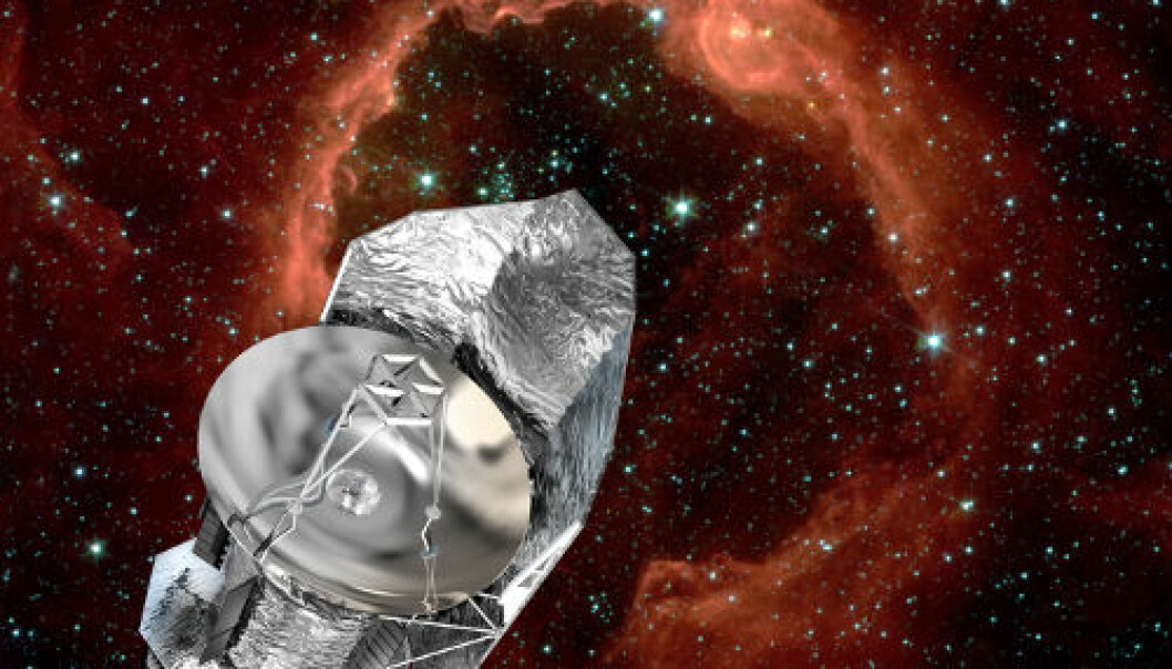 ESAs romteleskop Herschel. Illustrasjon: ESA/D. Ducros