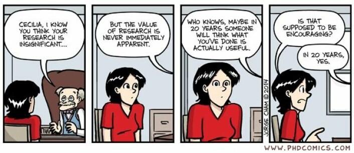 Det er av og til lov å le av folk som skriver doktorgrad også. (Foto: phdcomics.com)