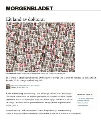 Blir Norge et land av doktorer? Morgenbladet 20.06.14. Dessverre ikke gratis på nett. (Foto: morgenbladet.no)