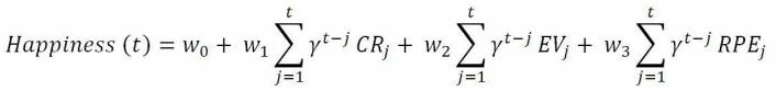 En matematisk formel kan spå om du snart vil bli lykkeligere. • CR er en sikker gevinst (Chosen Rewards). • EV er den forventede verdien på å spille (Expected Values) • RPE er forskjellen mellom den forventede og forutsett gevinsten. • t er forsøksnummer • w0 er en konstant • 0 ≤ γ ≤ en er en faktor som gir nyere opplevelser større verdi enn eldre. (Foto: (Ill: Robb Rutledge m.fl.))