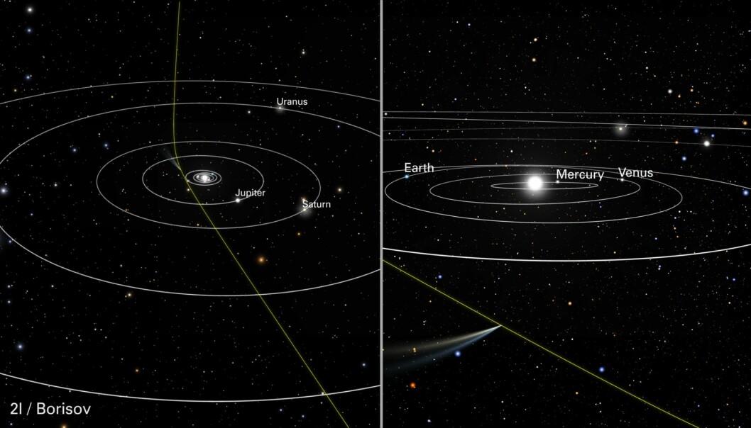 Den grønne streken viser banen som 2I/Borisov følger igjennom solsystemet vårt. I desember suser den forbi sola, et sted mellom planeten Mars og planeten Jupiter. (Illustrasjon: NASA, ESA, J. Olmsted og F. Summers (STScI))