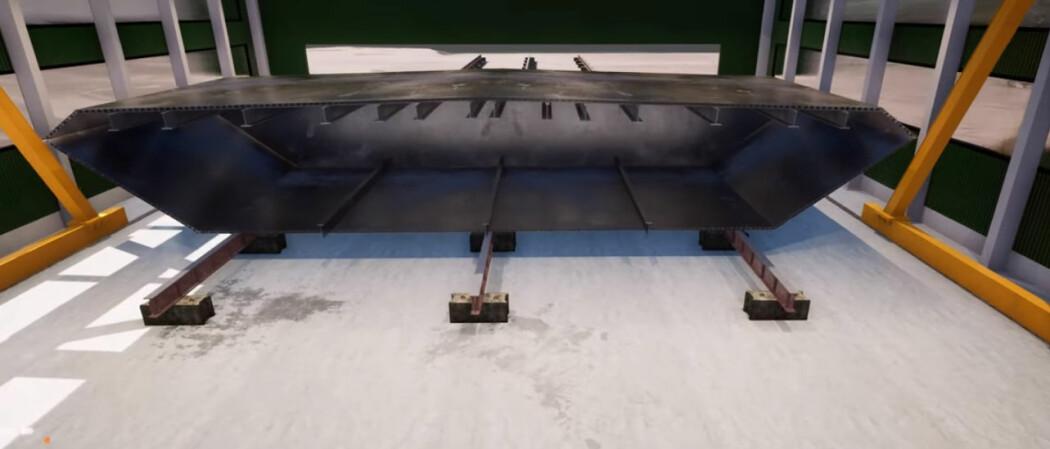 Bildet er hentet fra en animasjons-video om produksjon av brukasse i aluminium, et materiale som kan gi lettere og rimeligere totalkostnader i bruer.