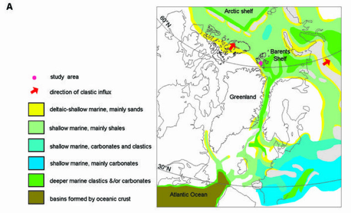 Kartet viser korleis Grønland og Norge låg mykje nærare kvarandre for 150 millionar år sidan. (Foto: (Ill.: Aubrey Roberts/PLOS ONE))