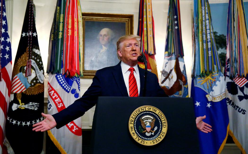 Donald Trump sin pressekonferanse, søndag har fått mye oppmerksomhet. Spesielt ordbruken rettet mot den drepte IS-lederen Abu Bakr al-Baghdadi har skapt reaksjoner. (Foto: Jim Bourg, Reuters/ NTB Scanpix)