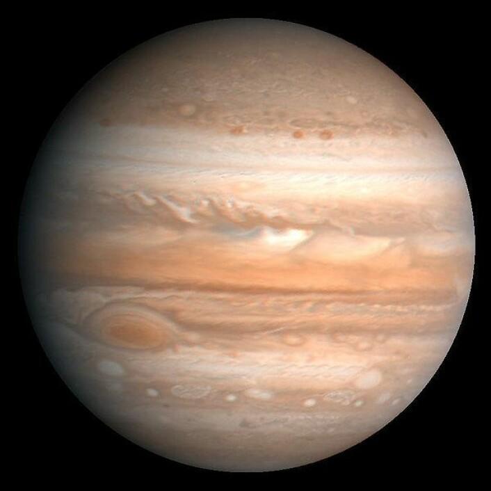 Jupiter, solsystemets største planet og en diger gasskjempe. (Foto: Wikimedia Commons)