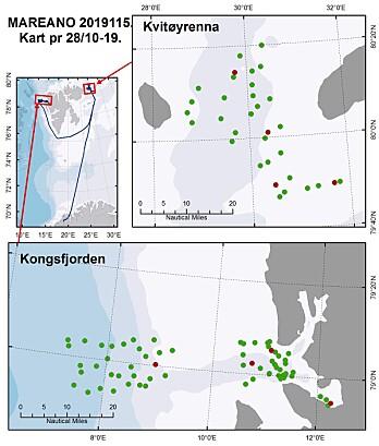 Kartet viser hvilke lokaliteter vi har undersøkt så langt på dette toktet. De grønne punktene er steder hvor vi har filmet havbunnen, mens de røde viser lokaliteter hvor vi i tillegg har tatt prøver av bunnen med grabb, kjerneprøvetakere, bomtrål og hyperbentisk slede. Kart: Kjell Bakkeplass, HI
