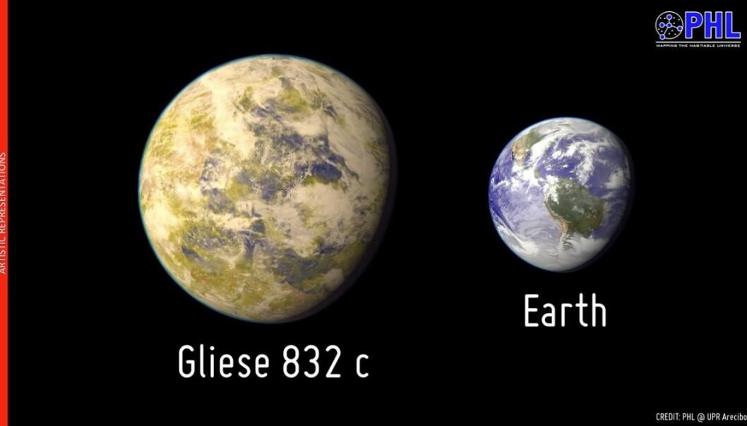 Slik ser en kunstner for seg Gliese 832c målt mot jordkloden. Ifølge astronomenes beregninger har planeten en masse på 5,4 ganger Jordas Planetary Habitability Laboratory, Arecibo