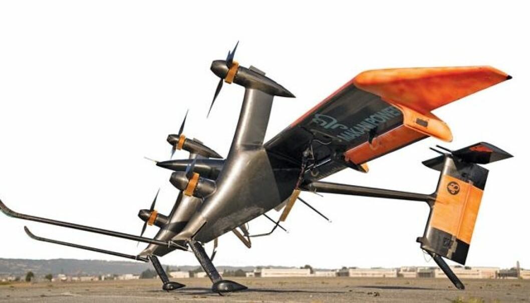Drageenergi: Her er protypen av det flyvende vindkraftverket som Google-eide Makani Power antyder at kan komme i salg fra slutten av 2015. Makanis løsning er utformet som en vinge med propeller og strømgeneratorer. Dragen skal kunne produsere 1 megawatt, tilsvarende strømforbruket til 50 norske husstander. En stor vindmølle kan i dag produsere 2 MW. Makani Power