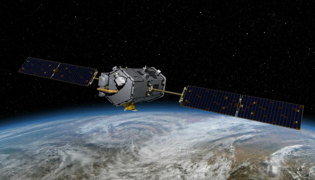 Orbiting Carbon Observatory-2 skal gå fra pol til pol. Satellitten passerer alltid midt over dagsiden av jorda, der sola står høyest. Dette kalles en solsynkron bane, og gir de sterkeste lysrefleksjonene fra jorda. Dermed blir målingene av CO2 best mulig. (Illustrasjon: NASA/JPL)