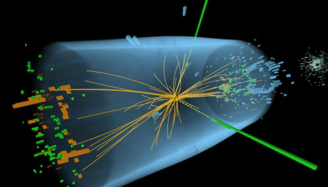 """Figuren viser kollisjonen mellom to protoner i ATLAS-detektoren til Large Hadron Collider-partikkelakseleratoren som påviste Higgspartikkelen. De grønne og gule strekene indikerer fotoner som oppstod i kollisjonen. (Figur:CERN, <a href=""""http://creativecommons.org/licenses/by-sa/3.0"""">Creative Commons</a>)"""