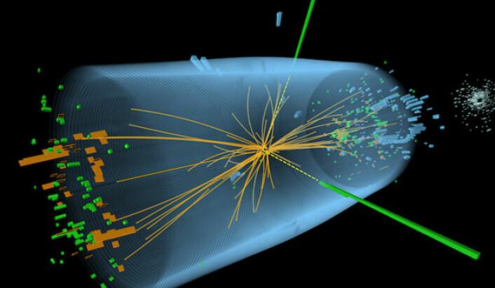Figuren viser kollisjonen mellom to protoner i ATLAS-detektoren til Large Hadron Collider-partikkelakseleratoren som påviste Higgspartikkelen. De grønne og gule strekene indikerer fotoner som oppstod i kollisjonen. (Foto: (Figur:CERN, Creative Commons))