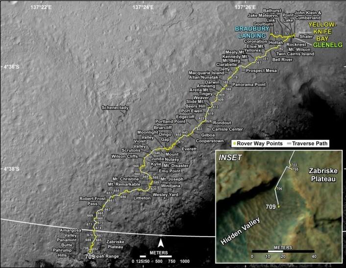 Dette kartet viser hvor Curiosity foreløpig er, sist oppdatert 4.8.2014. (Foto: (Bilde: NASA/JPL-Caltech/Univ. of Arizona))