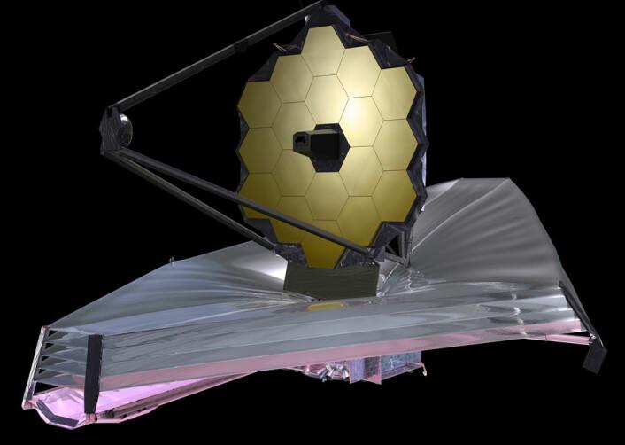 James Webb-teleskopet (JWST) skal ta over for Hubble en gang etter 2018. JWST er et infrarødt teleskop, og har som hovedoppdrag å studere galaksenes fødsel, og de tidligste hendelsene i universet. (Foto: (Illustrasjon: NASA))