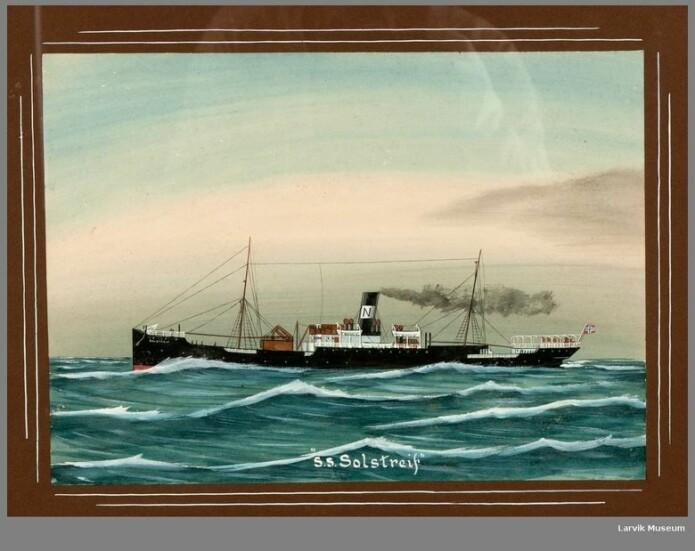 Maleri av S.S. Solstreif (1892) Eier: Larvik museum
