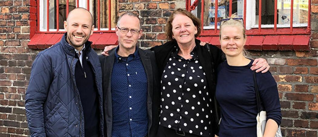 Frå besøk i Katowice i Polen: Instituttleiar Piotr Garbacz, undervisningsleiarane Christian Janss, Siren Leirvåg og Annely Tomson. (Foto: Privat)
