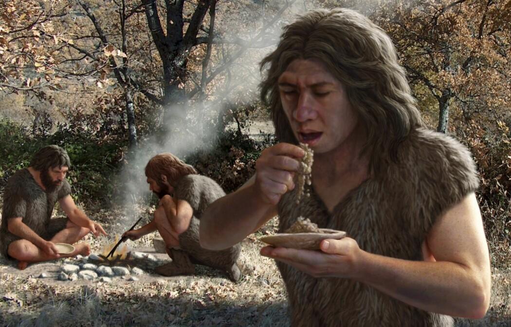 Forskere har tidligere antatt at neandertalerne bare klarte å høste av skog- og krattbranner i naturen, og at de derfor var begrenset av hvor ofte landskapet rundt dem sto i fyr. (Illustrasjon: Science Photo Library)