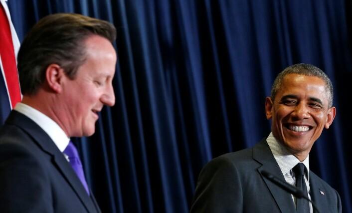USA og Storbritannia står sammen i mye. Her står David Cameron og Barack Obama sammen under G7-møte i Brussel i juni. (Foto: Reuters)