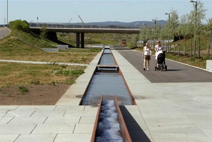 Slik ser vannkanalene ut på Fornebu. (Foto: Bjørbekk & Lindheim)