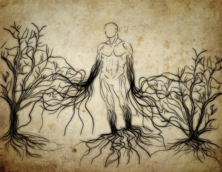 Menneskehjernen er intimt innfiltret med resten av verden gjennom stammer og grener av nervetråder og videre ut gjennom hele kroppen. (Foto: (Illustrasjon: Per Byhring, forskning.no))