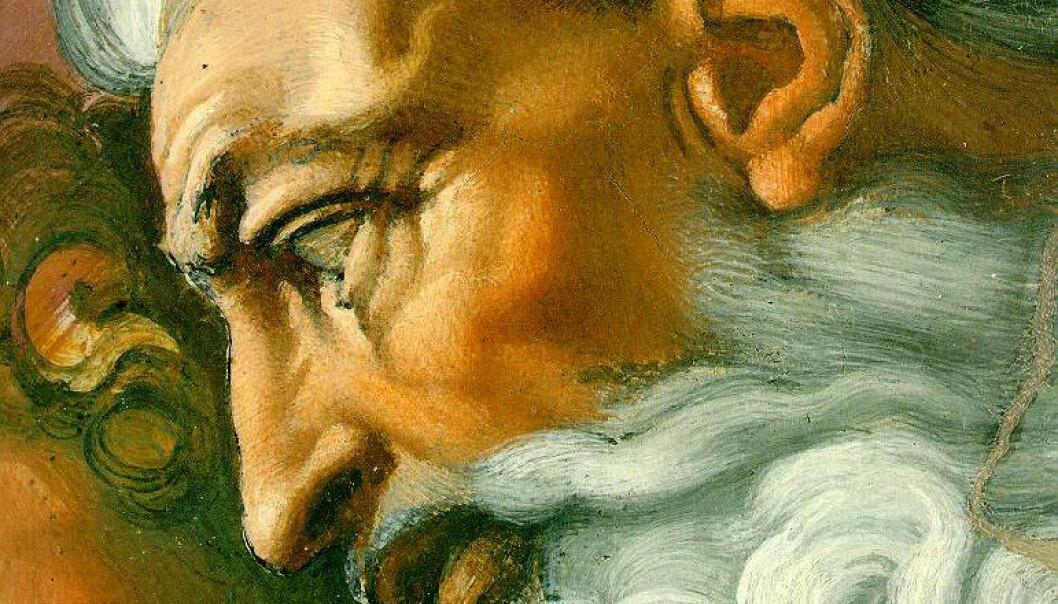 Gud i maleriet Adams skapelse av Michelangelo i Det sixtinske kapell i Roma. (Bilde: Michelangelo Buonarroti Simoni ca. 1510, Wikimedia Commons)