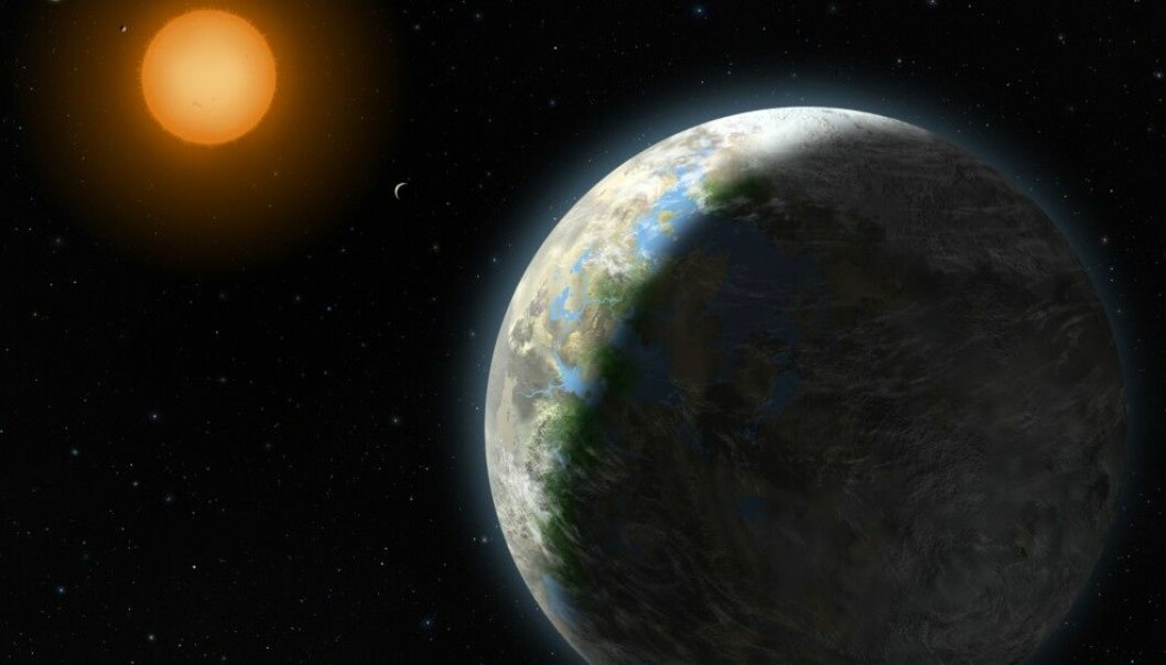 Slik forestilte en kunstner seg hvordan Gliese 581g kunne sett ut, dersom den fantes. Ny forskning påpeker med en viss grad av sikkerhet at planeten ikke finnes. (Ill: Zina Deretsky, National Science Foundation / AP)