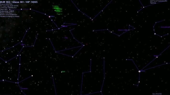 Gliese 581 befinner seg i den røde ringen. Bildet er framstilt i det åpne visualiseringsprogrammet Celestia. (Foto: Barney Holmes/Celestia)