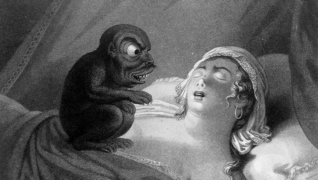 Før trodde folk at demoner kunne gi oss mareritt og sykdommer. Denne tegningen ble lagd av J.P. Simon i 1810. (Illustrasjon: Wikimedia Commons)