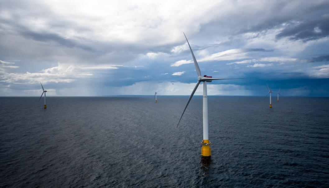 Havforskningsinstituttet fraråder bygging av havvindmøller utenfor Hammerfest. Her et bilde av Equinors Hywind Buchan vindmølleanlegg utenfor Skottland. (Illustrasjonsfoto: Øyvind Gravås, Equinor, NTB scanpix)