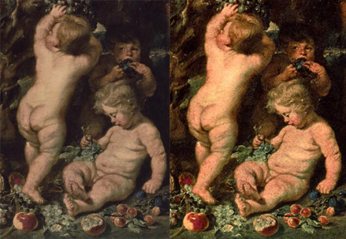 """Bildet viser et resultat der metoden er brukt på et fotografi av den forsvunne maleriet """"Satyrs and Bacchants"""" av Peter Paul Rubens. (Foto: (Illustrasjon: Høgskolen i Gjøvik/Peter Paul Rubens))"""