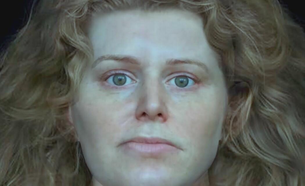 Ansiktet er rekonstruert ut fra en hodeskalle fra en vikinggrav i Solør. Forskerne bak rekonstruksjonen mener det er mye som tyder på at hun var en kriger. (Copyright: National Geographic)