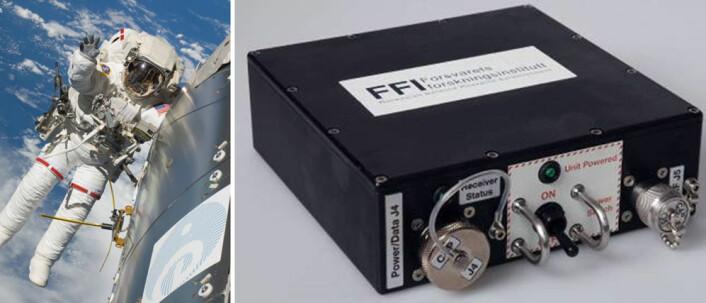 En testmottaker lik de som sitter i AISSat-1 og 2 er montert på Den internasjonale romstasjonen. Den brukes for å prøve ut nye versjoner av programvare og annen forhåndstesting. (Foto: ESA/Forsvarets Forskningsinstitutt)