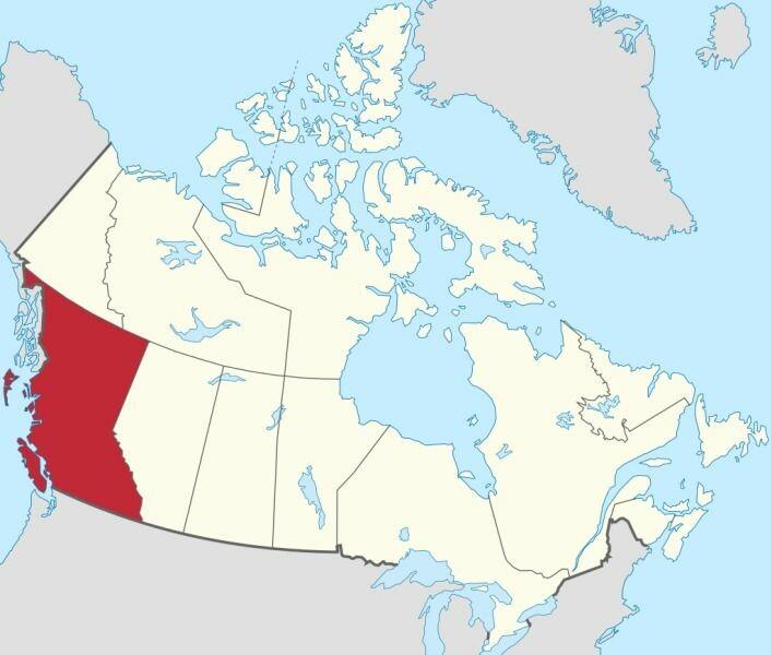 Området Britisk Columbia strekker seg langs den nord-vestlige delen av Canada (foto: wikimedia commons/TUBS)