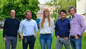 The Heat to Hydrogen team: From left: Frode Seland, Kristian Etienne Einarsrud, Kjersti Wergeland Krakhella, Robert Bock and Odne Stokke Burheim. (Photo: Lars Robert Bang/NTNU)