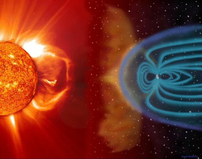 Solvinden kastes ut fra solen. (Foto: (Illustrasjon: ESA ))