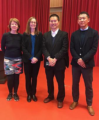 Gunn Engelsrud (til venstre), Jorunn Spord Borgen, Tomoyasu Kondoh og Keejoon Yoon. (Foto: NIH)