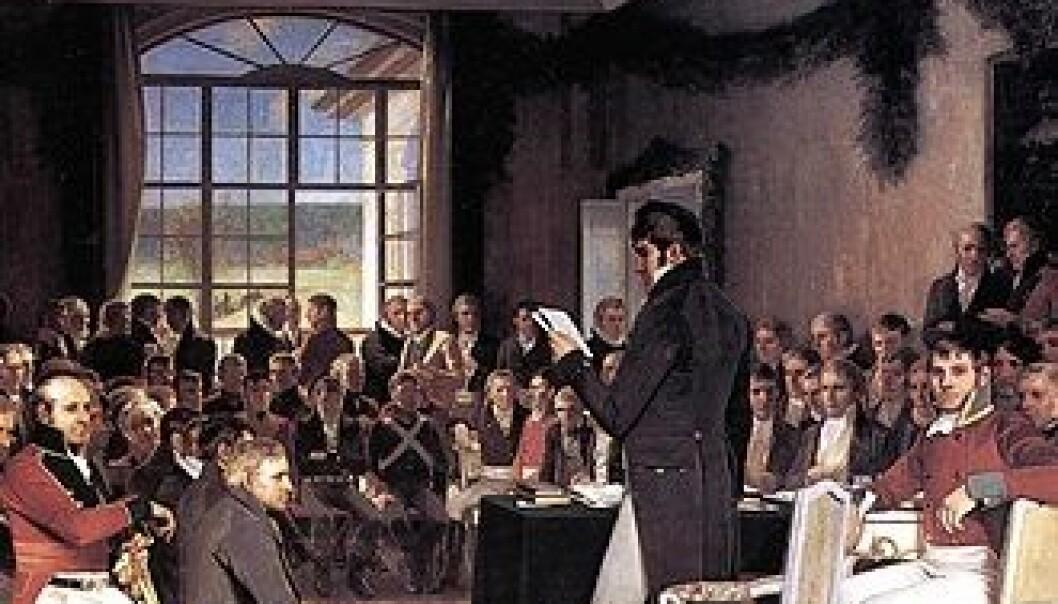 Riksforsamlingen på Eidsvoll 1814. (Malt av Oscar Wergeland)