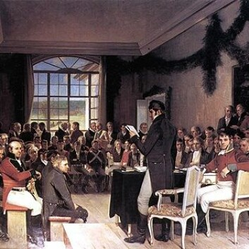 Riksforsamlingen på Eidsvoll 1814. (Foto: (Malt av Oscar Wergeland))