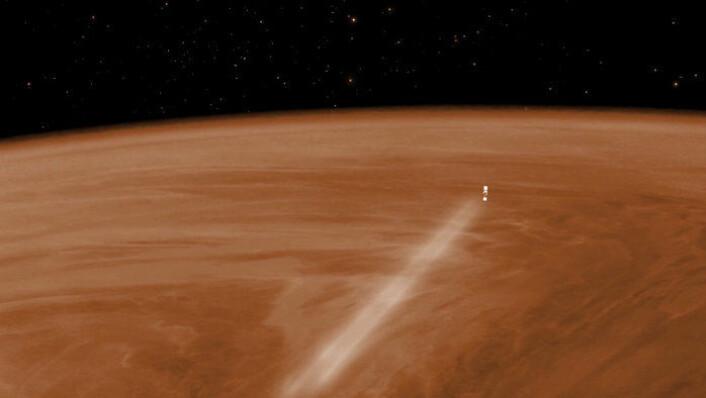 Slik kan det se ut når Venus Express går inn i de øvre lagene i atmosfæren. (Foto: ESA–C. Carreau)