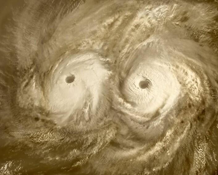 Kjempeorkaner over nordpolen på Venus, som har brutale og sterke vinder. (Foto: ESA)