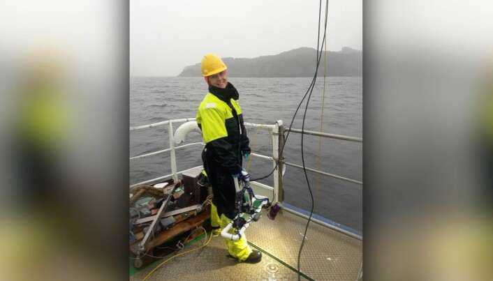 Den handhaldne videoriggen er laga av Havforskningsinstituttet og består av nokre pvc-røyr og GoPro-kamera i eit dykkehus. Her bemanna av Tina Kutti. (Foto: Vivian Husa / Havforskningsinstituttet)