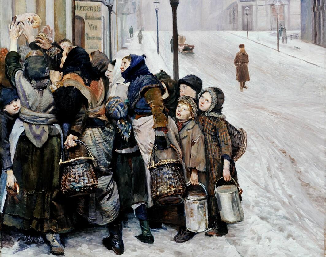 Christian Kroghs berømte maleri av kvinner og barn som kjemper om et stykke brød i Kristiania på slutten av 1800-tallet.