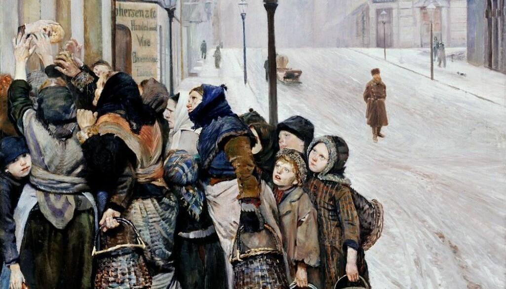Christian Krogh malte dette bildet i 1889. Det heter «Kampen for tilværelsen» og viser voksne og barn som venter på å få utdelt brød. Selv om noen hadde det vanskelig på denne tiden, så var det ikke verre i Norge enn i andre land.