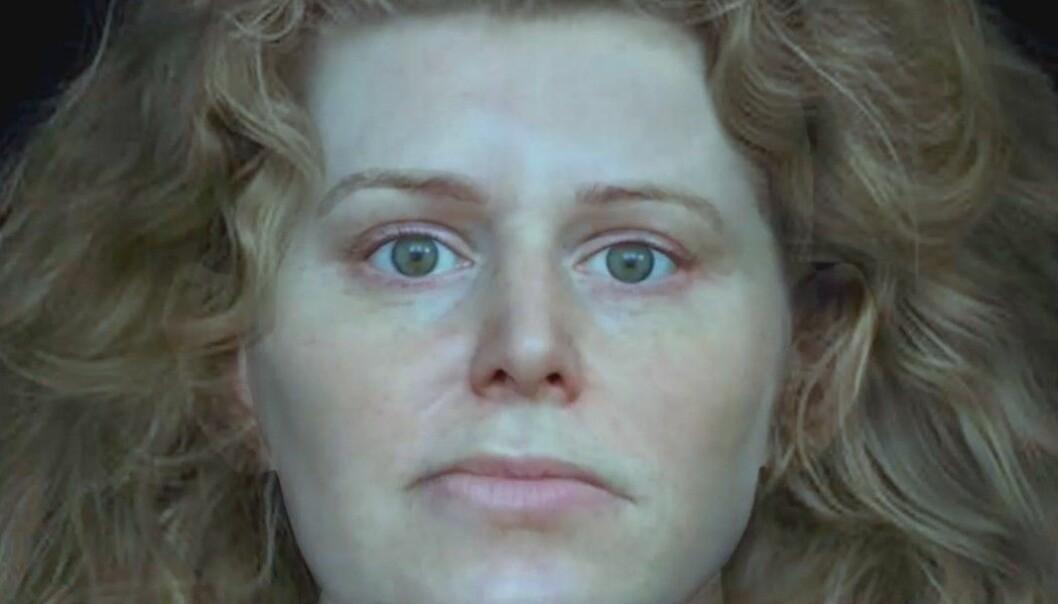 Forskere har brukt et dataprogram for å tegne ansiktet til en kvinne som ble funnet i en viking-grav. De har basert seg på hodeskallen hennes. (Bilde: National Geographic)