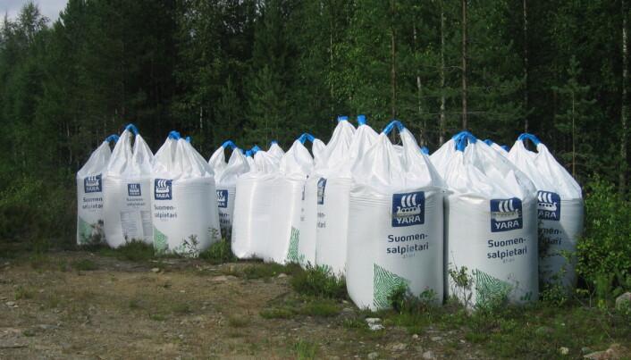 Sekker med norsklagd kunstgjødsel står klar til bruk i et finsk skogbruk. Det å tilføre nitrogen til naturlige miljøer er omstridt. (Foto: Seppvei/Wikimedia Commons)