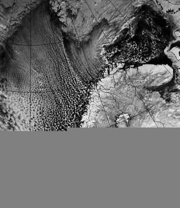 """Kulderas over Norge; Mobile Polar High i aksjon. (Foto: NOAA)"""