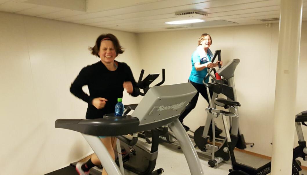 Jossan og Guri i gymmen. Bilde: Lilja R. Bjarnadóttir